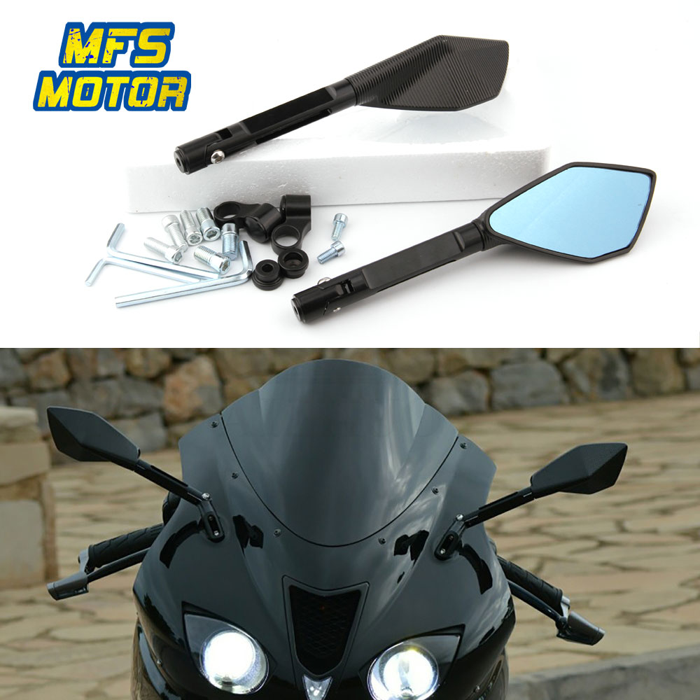 For <font><b>Suzuki</b></font> dl650 gn250 gn125 gs 500 sv650 bandit 1200 650 Universal 8mm 10mm Motorcycle Accessories Rear View Mirrors Blue Glass image