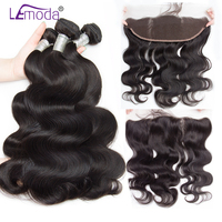 Lemoda Malaysian Boby Wave Bundles With Frontal Closure Human Hair Bundles With Frontal Remy Hair Extensions Ear to Ear Frontal