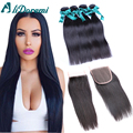 Brazilian Straight Hair With Closure 7A Brazilian Virgin Hair With Lace Closure 4 Bundles Human Hair Weaves With Closure