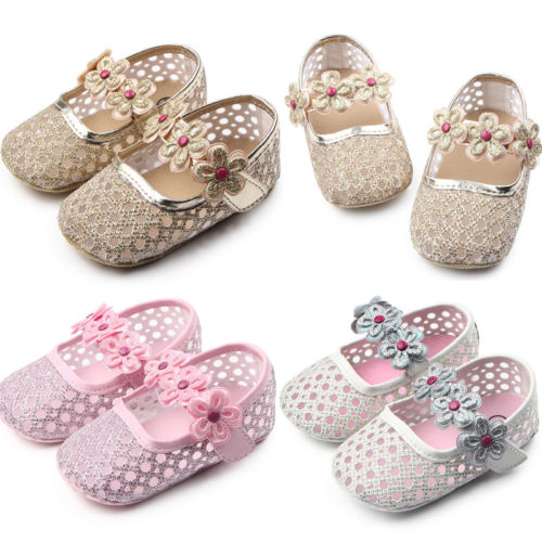 Kid Baby Girl Floral Shoes Newborn Infant Toddler Soft Sole Crib Cute Diamond Shinning Fashion Prewalker