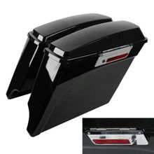 Motorcycle 5 Vivid Black Stretched Extended Hard Saddlebags For Harley Touring Model 93-13