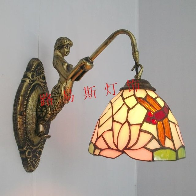 Direct manufacturers of European Dragonfly wall lamp mirror front beauty fishing lighting Tiffany background wall balcony lamp