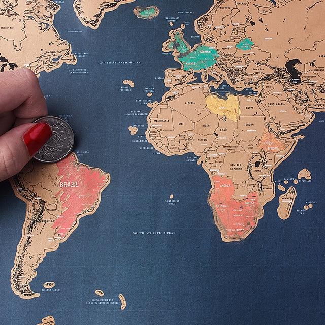 42.5*30 CM de Lujo Borrar Viajes Mapa Mundi Arañazos Mapa Mapa Mundial Personalizada Decoración Decoración de La Pared Cartel de la Pintura de Los Niños de Juguete