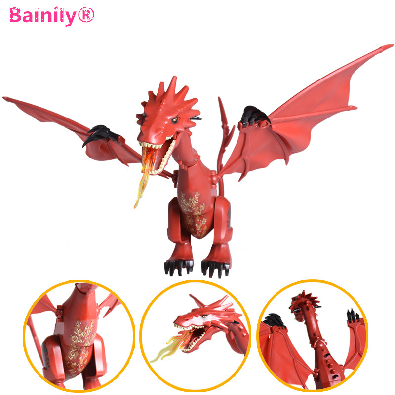 [Bainily]1pc Smaug The Hobbit Desolation The Lonely Mountain Dol Guldor Battle Building Blocks Compatible With LegoINGly Friends pg931 the hobbit desolation of smaug 79018 the lonely mountain dol guldor battle building blocks educationa compatible with lpin