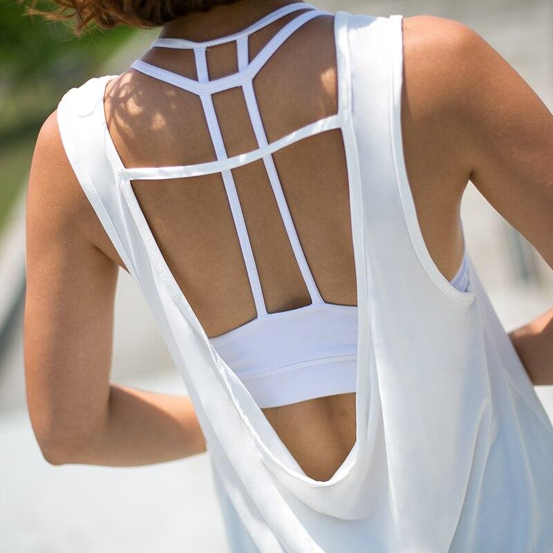 Aberto para trás Leve Tanque de Yoga Preto e Branco Camisas de Fitness Superior para Mulher Sexy Topo Secagem Rápida Treino Correndo Colete t
