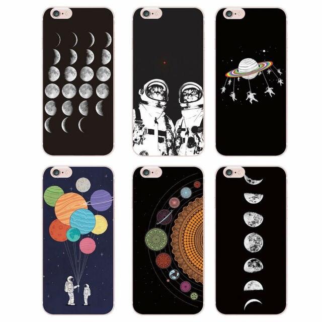 Для iphone se 5c 4S 5S 6s 6 плюс 7 плюс 7 samsung galaxy s5 s6 s7 края пространства любовь луна астронавтов cat мягкие силиконовые печатных case
