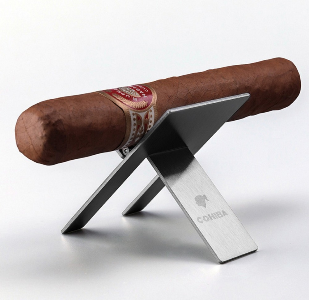 COHIBA Cigar Ashtray Holder Stainless Steel Cigar Holder Portable Tripod Cuba Cigar Accessories With Box