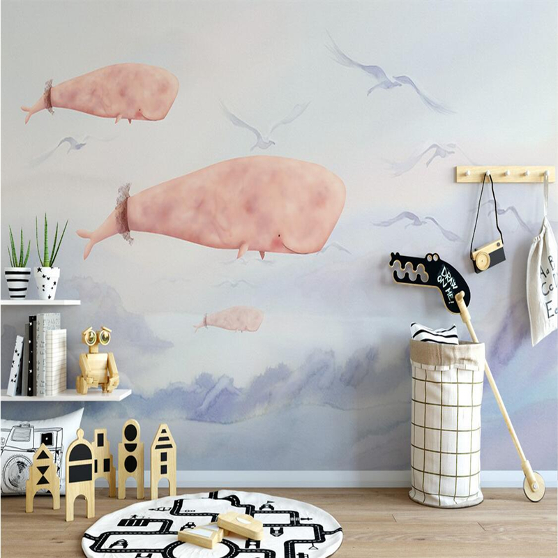Custom Wall Paper 3d Hand Painted Cartoon Seaside Whale Photo Wallpaper Embossed Wall Paper TV Background Wall Mural Wallpaper custom 3d photo wallpaper mural nordic cartoon animals forests 3d background murals wall paper for chirdlen s room wall paper