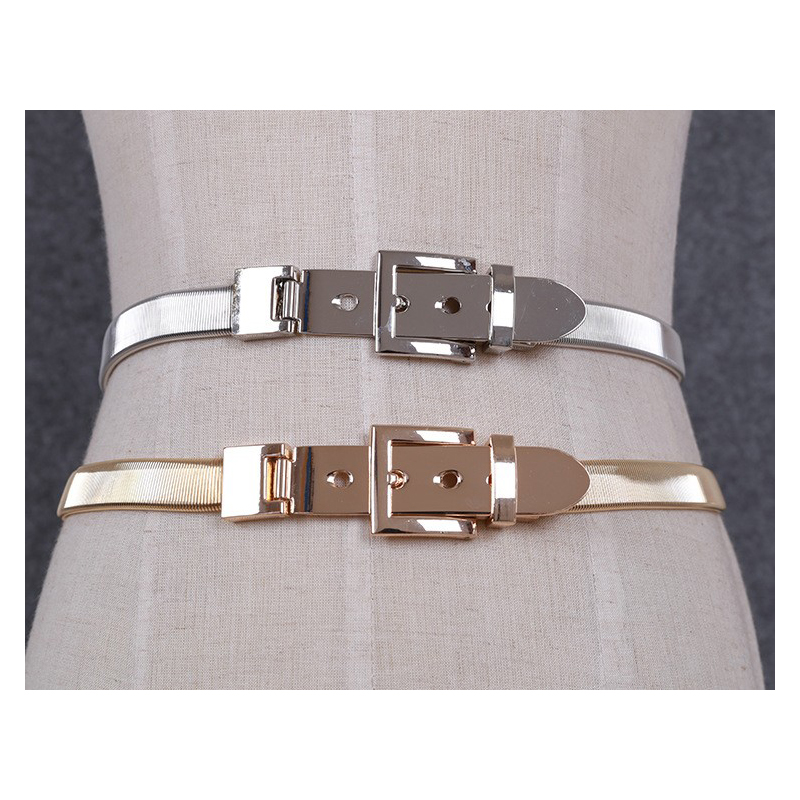 Women Gold And Silver Full Metal Elastic Chain Belt Metal Pin Clasp Buckle Waistband 2017 Fashion Belts Bg-040