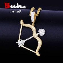 Мужские ожерелья и подвески в форме банта и стрелы золотого цвета со льдом из кубического циркония, ювелирные изделия в стиле хип хоп с цепочкой для тенниса