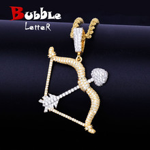 Bow and arrow Shape Necklace & Pendants Gold Color Iced Cubic Zircon Mens Hip hop Jewelry With Tennis Chain