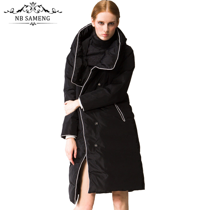 2017 Winter Luxury European Style Women's Long Down Parkas High Quality Fashion Designer Super White Duck Down Jacket Women Coat