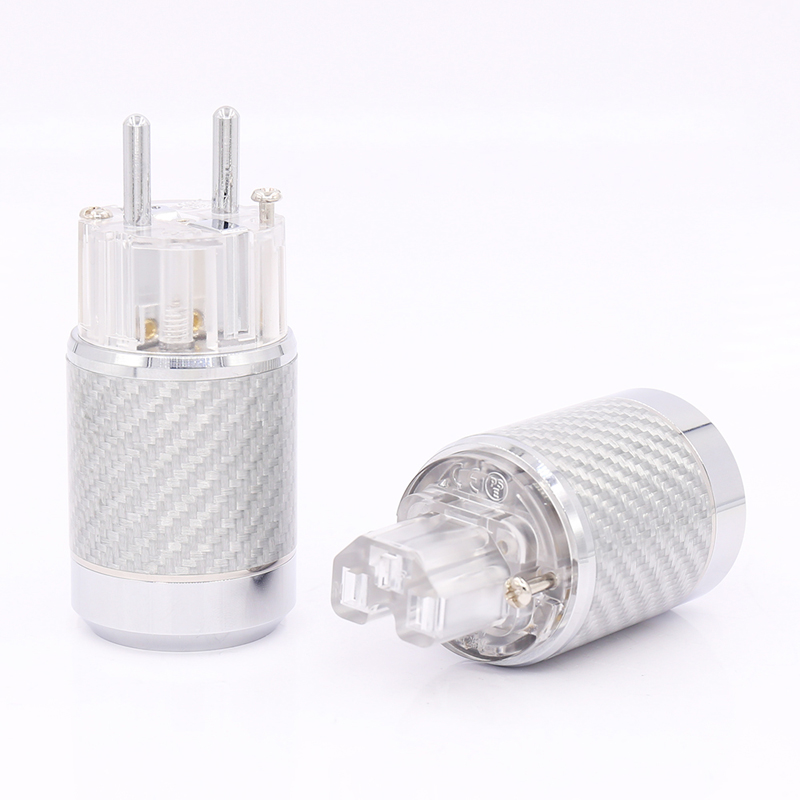 Free shipping one pair Carbon Fiber Rhodium Plated EU Mains Power Connector Female IEC Plug hifi high quality gold plated us power plug connector us mains power ac cord plug iec female connector pair