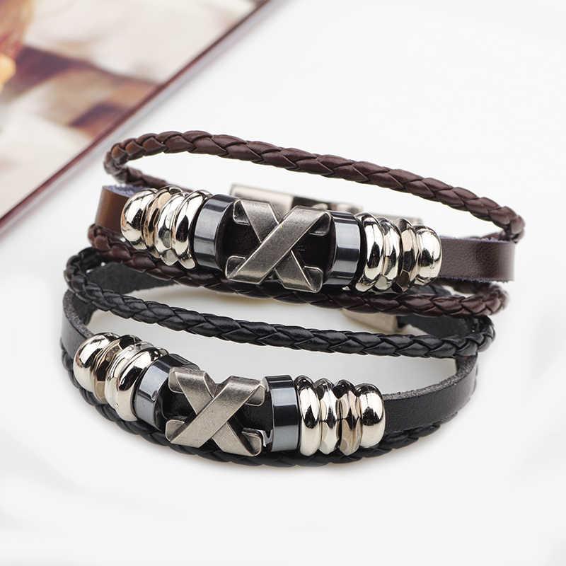 Модные бисерные восковые веревки аксессуары из нержавеющей стали Амулет из натуральной кожи браслеты для женщин мужской подарок pulsera кожаный браслет