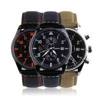 Luxurious Men Male Cassul Watch Luminous Function Solid Color PU Leather Wrist Watches For Men Relogio