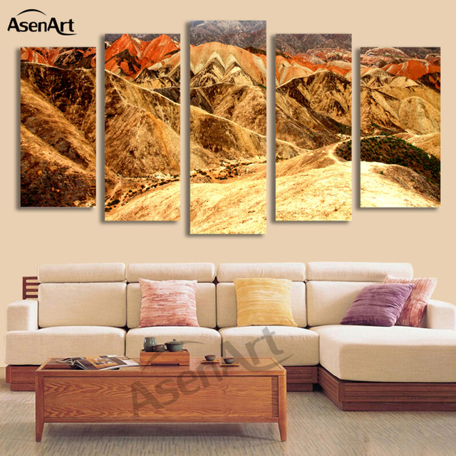 5 Panel Chinese Park Mountain Landscape Pictures Home Decor Wall Art ...