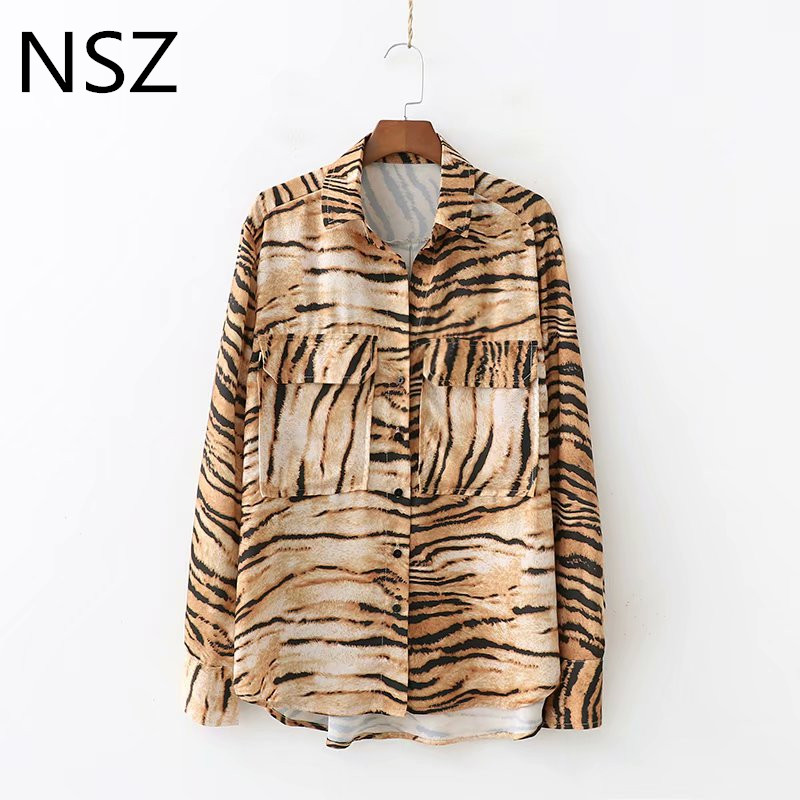 1bf3cf2666 Women Animal Print Tiger Blouse Long Sleeve Turn-Down Collar Loose Shirt  Female Casual Asymmetry