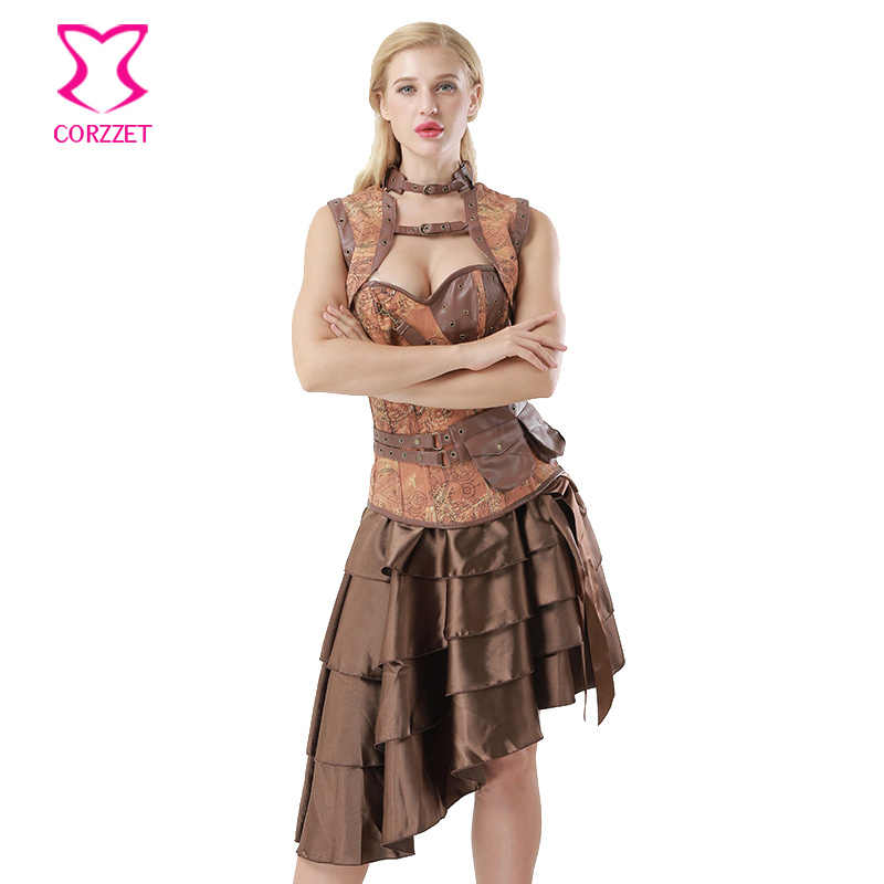 Corzzet винтаж плюс размер коричневый деним и жаккард сталь Корсет на бюст с косточками платье Талия тренажер Сексуальная Готическая стимпанк Одежда