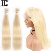 HC 360 Lace Frontal With Bundles Ombre 613 Blonde Brazilian Human Hair Weave 2 Bundles With Frontal Closure Remy Straight Hair