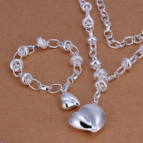 S014 925 Hot Selling silver jewelry set, fashion jewelry set Peach Heart /aiiaizpa auaajlha