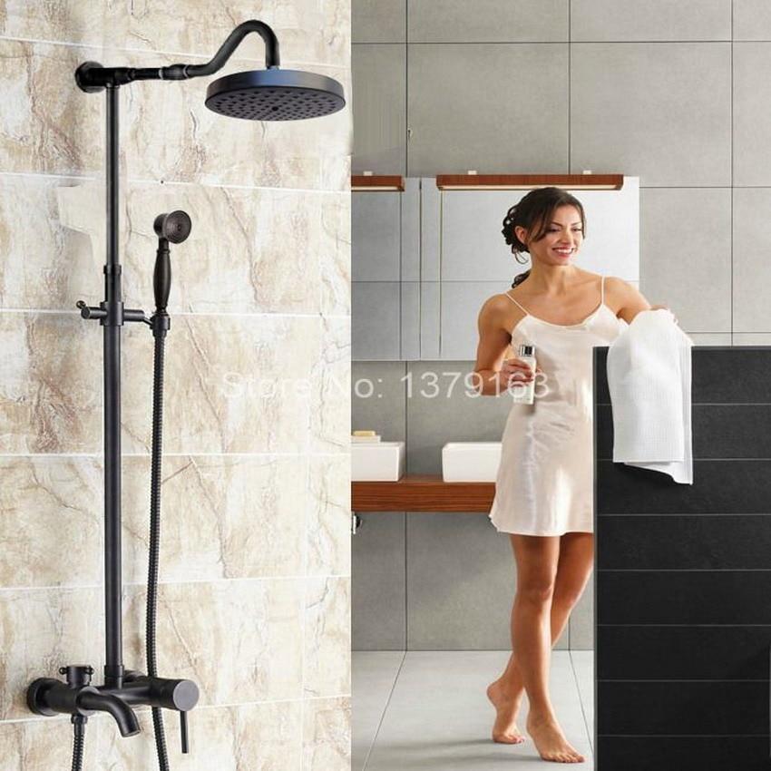 Brass Black Oil Rubbed Bronze Bathroom Rainfall Bathtub Shower Mixer Tap Faucet Single Handle Wall Mounted ars627