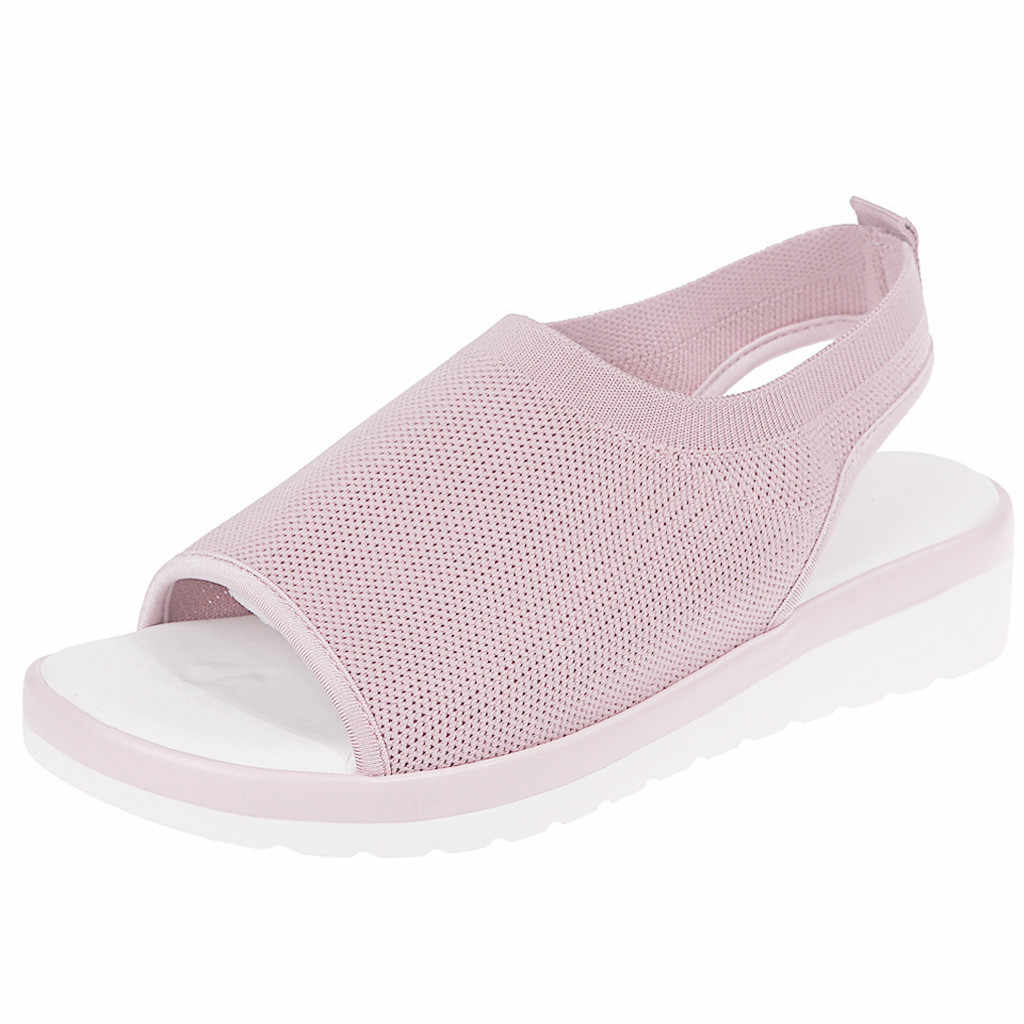 tacones transparente  zapatos mujer verano  Women   Ladies Breathable Comfort Hollow Out Casual Wedges Mesh Shoes Sandals   Si14