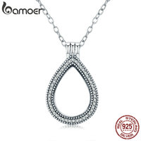 BAMOER 100 Authentic 925 Sterling Silver Mystery Forest Power Box Floating Locket Necklaces For Women Silver