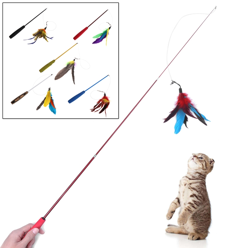 Pet Cat Toys Plush Stick Stretch Kitten Dog Teaser Interactive Wire Feather Wand Dog Toys in Cat Toys from Home Garden