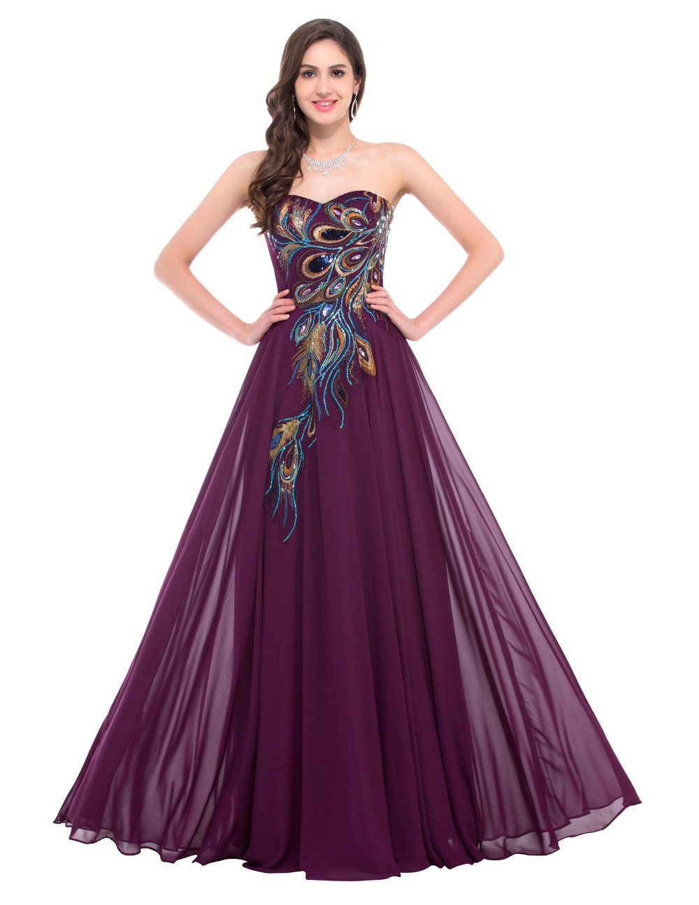 d76b63212f2bb Sweetheart Peacock Navy Blue Purple Black Bridesmaid Dresses Elegant Long  Grace Karin Appliques Chiffon Formal Gowns Party Dress-in Bridesmaid  Dresses ...