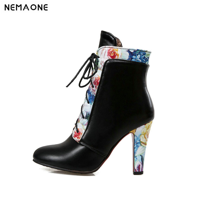 NEMAONE Women high heels Ankle Boots Ladies flower wedding party Boots lace up spring autumn Woman Shoes Plus Size 43 ladies plus size 34 46 12 colors lace up designer led board shoes light up luminous zapatillas usb charger high top party boots