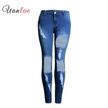2019 nueva moda mujer jeans Mujer azul sólido novedad Skinny largo completo agujero grande rasgado jeans Retro Denim Mujer Pantalones