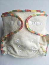 Fitted Cloth Diaper Overnight Diaper with 2 Cotton Hemp Inserts, One Size with Snap Buttons fit to 3 13kg babys no pul