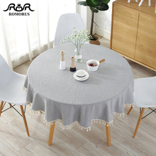 Modern Solid Color 150CM Round Table Covers with Tassels Cotton Linen Gray Navy Blue Tablecloths Decorative Cloths