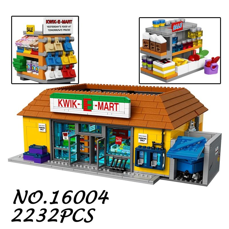 Compatible Legoe THE Simpsons Series 71016 Lepin 16004 2232pcs The Kwik-E-Mart building blocks bricks toys for children 0367 sluban 678pcs city series international airport model building blocks enlighten figure toys for children compatible legoe