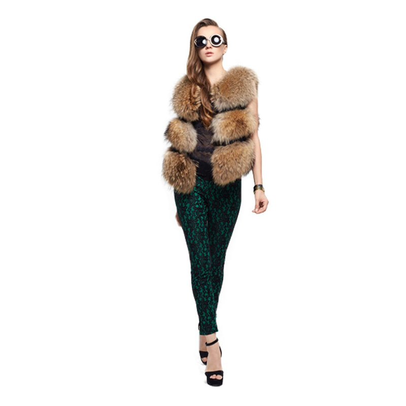 ZY88029 2016 Hot Sale Autumn And Winter Fashion Style Real Raccoon Fur With Pig Leather Slim Short Natural Color Sleeveless Vest