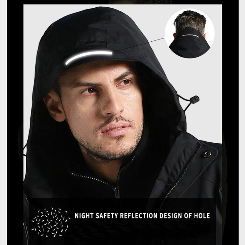 Image 5 - Men's Winter Outdoor Intelligent USB Work Hooded Heating Jacket Coats Adjustable Temperature Control Safety Clothing DSY0012-in Safety Clothing from Security & Protection