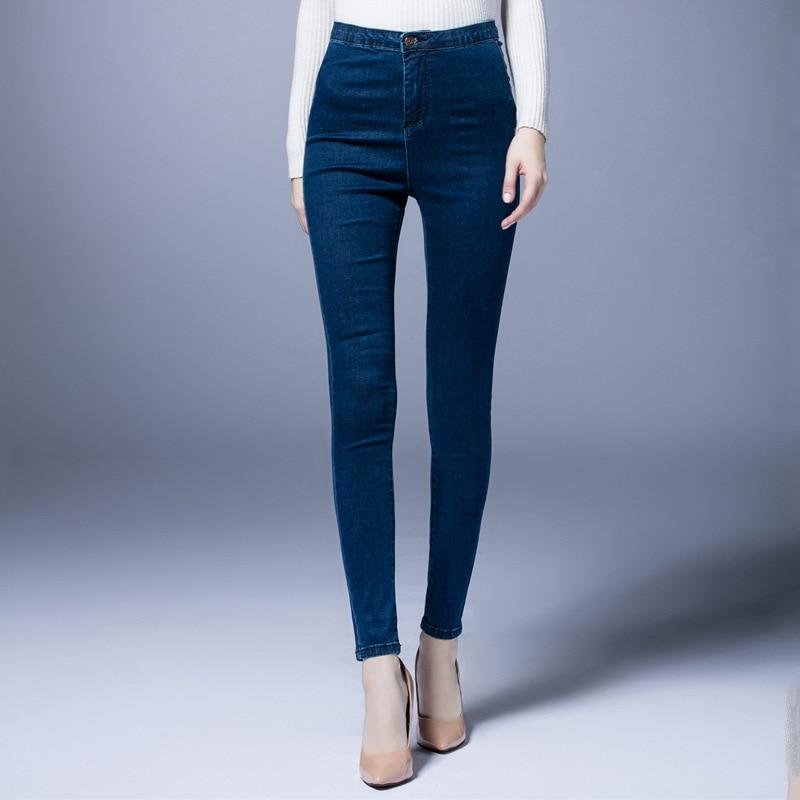 ФОТО Plus Size Women Jeans Denim Pants Elasticity High Waist Show Slim Pencil Pants Cowboy Trousers M-5XL Dark Blue High Quality