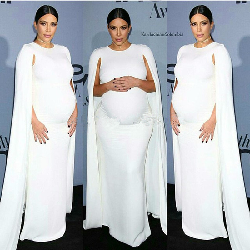 Celebrity-inspired Dresses Kim Kardashian White Jersey Celebrity Dress Kaftan White Elastic Cape Evening Gown For Pregnant Women Maternity Free Shipping 100% Original