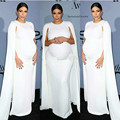 Kim Kardashian White Jersey Celebrity Dress Kaftan White Elastic Cape Evening Gown for Pregnant Women Maternity Free shipping