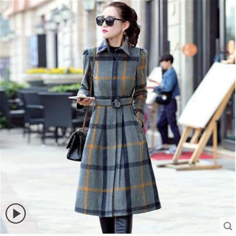 Laine Slim 2019 Plaid Confortable Moyen À Mode De Élégant Manches Manteau Longues D'hiver Veste Wun528 Long Bouffantes Nouvelles Femmes 7q7IB