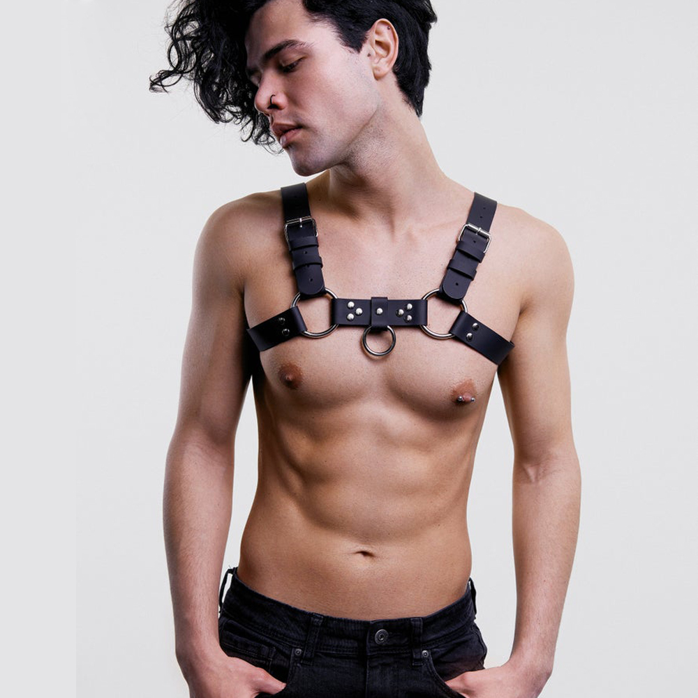 Men Leather Adjustable Waist Suspender Harness Belt PU Leather Chest Shoulder Exotic Tanks Belt With Buckles Metal O-Ring Straps