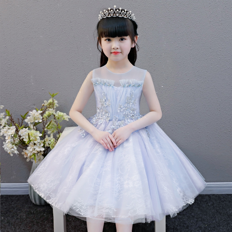 Elegant Girls Children Mesh Pearls Wedding Birthday Party Dresses Kids Evening Ball Gowns Formal Baby Flowers Dress Clothes girls pageant formal dresses 2018 tailing floor length ball gowns flowers girls princess dress kids birthday party wedding dress