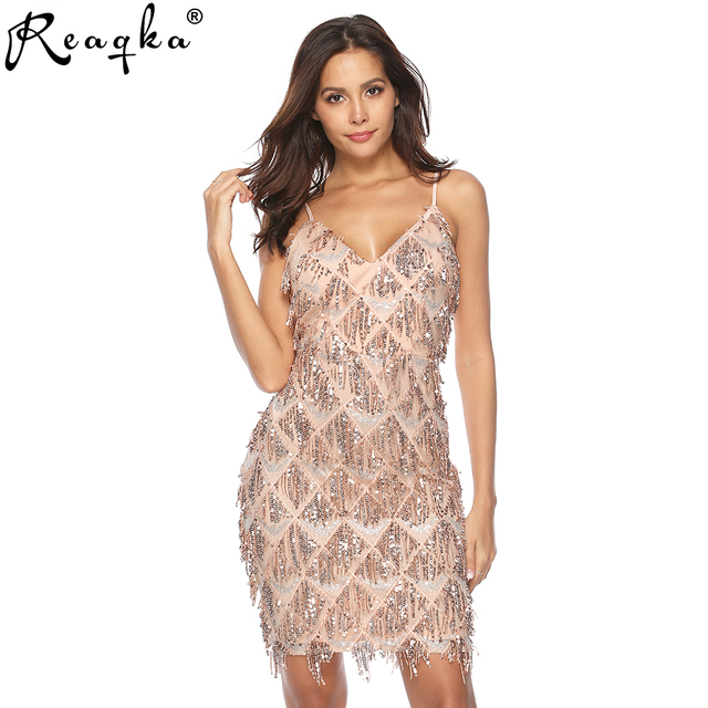 2019 Fashion Women Dress Sexy Sequined Party Deep V-Neck Mini Vestidos Female Ladies Tassel Backless Spaghetti Strap Dresses New