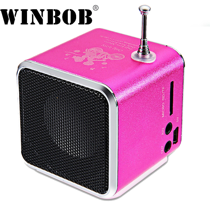 WINBOB TD-V26 aluminio Digita linternet receptor FM radio SD TF USB juego estéreo Altavoz mini Altavoz portátil FM radio V26RDH