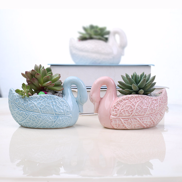 Z Creative Ceramic Flower Pot 3pcs Set Cartoon White Blue Pink Swan Succulent