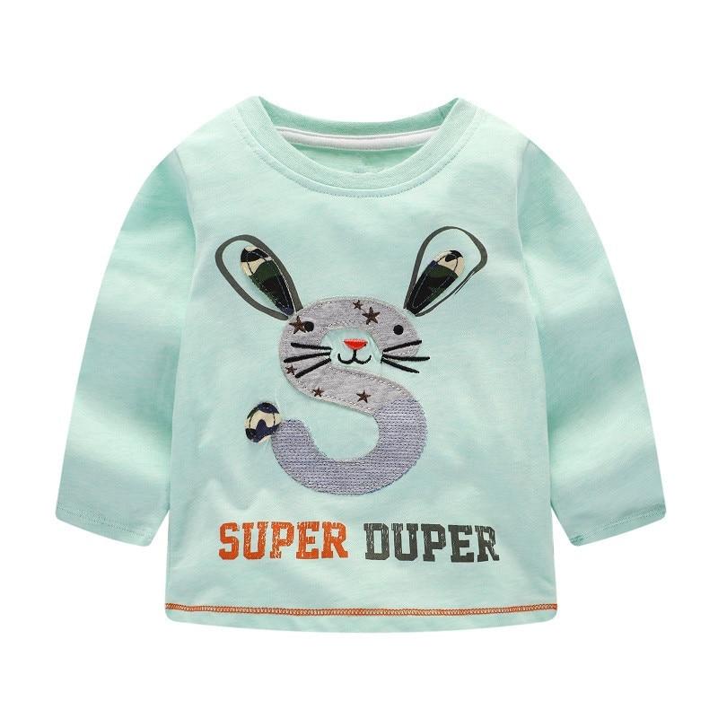 Brand Spring Autumn Children Clothing Toddler Girl T Shirt Long Sleeve T Shirts Cartoon Rabbit Tees & Tops brand jumping meters 1