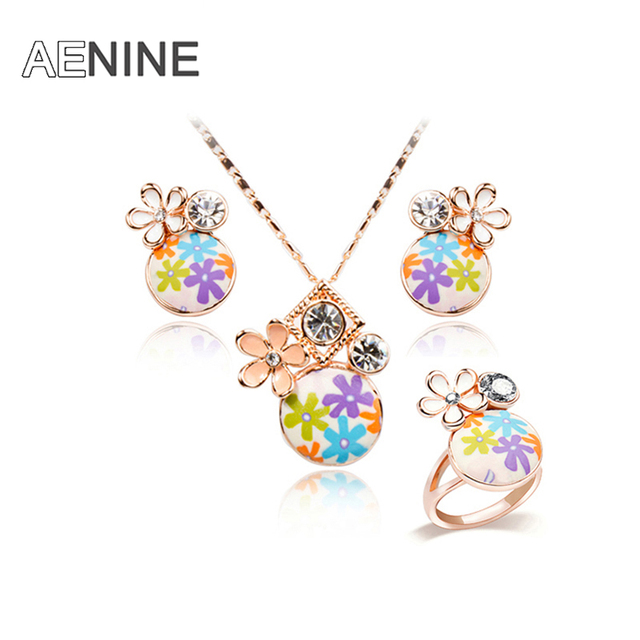 Trendy Jewelry Sets Rose Gold Plated Fimo Polymer Clay Colorful Leaves Necklace Earrings Ring Jewelry Sets 20702650162b