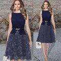 Moda Dots Vestido Projeto da Correia Da Cintura Emagrecimento Sem Mangas Azul Marinho Bonito Mulheres Verão Vestido Ocasional M, L, XL, XXL