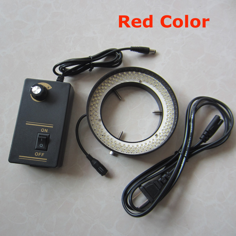 156pcs Adjustable LED Red Light Lamps Ring Lamp 8W for Medical Stereo Biological Microscope 96-260V fyscope red color light 60pcs led adjustable zoom microscope ring lamp with adapter 220v for biological stereo microscopes