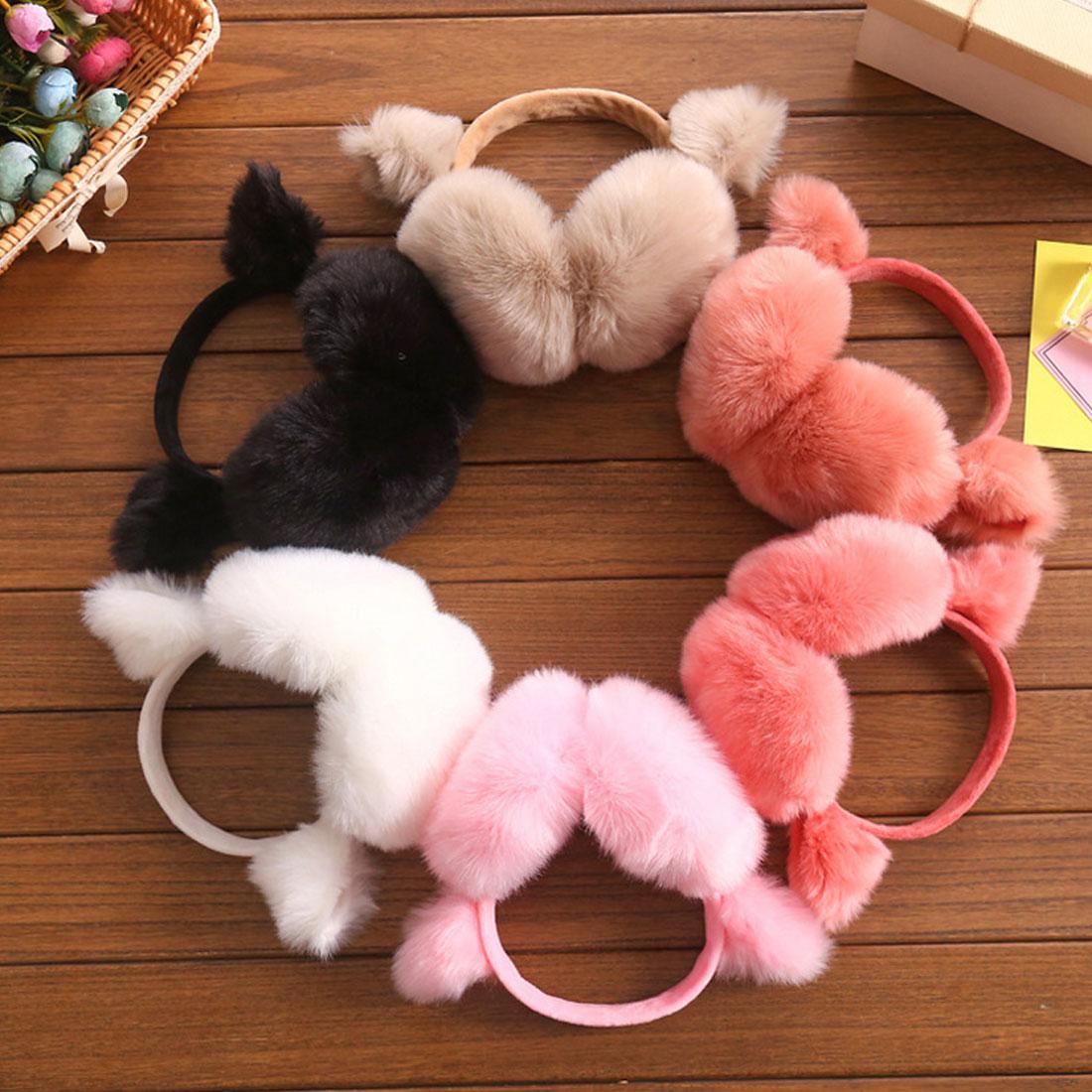 2017 New Fashion Rabbit Winter Earmuffs For Women Warm Fur Earmuffs Winter Warm Ear Warmers Gifts For Girls Female